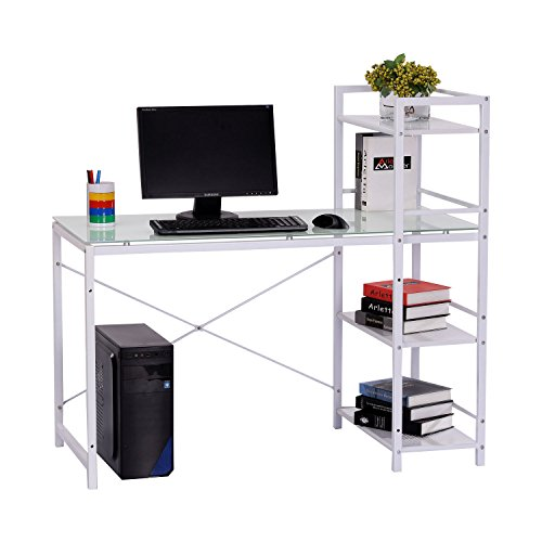 lf Tower Glass-Top Office Workstation Computer Desk - White ()
