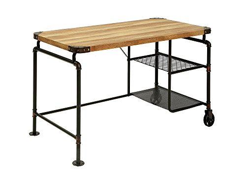 1PerfectChoice Olga Industrial Writing Computer Desk Mesh Shelves Replicated Wood Antique Black by 1PerfectChoice