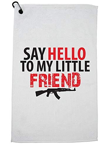 (Say Hello To My Little Friend Machine Gun Golf Towel with Carabiner Clip)