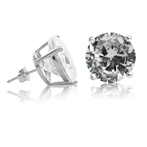 (Kezef Creations Sterling Silver .925 CZ Stud Earrings with 15mm Round White Cubic Zirconia Gemstones)
