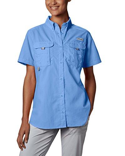 Columbia Womens Bahama Short Sleeve Shirt, X-Small, White Cap