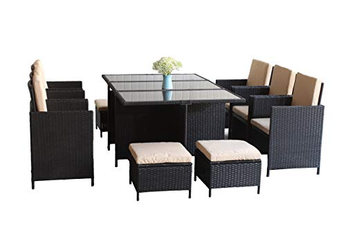 United Flame Cube 11 Pieces Indoor Outdoor Patio Furniture Dinning Set Black Rattan Chair Wicker Set Backyard Lawn Garden Furniture Set with Glass Table and Cushions All Weather RTA Furniture Sets