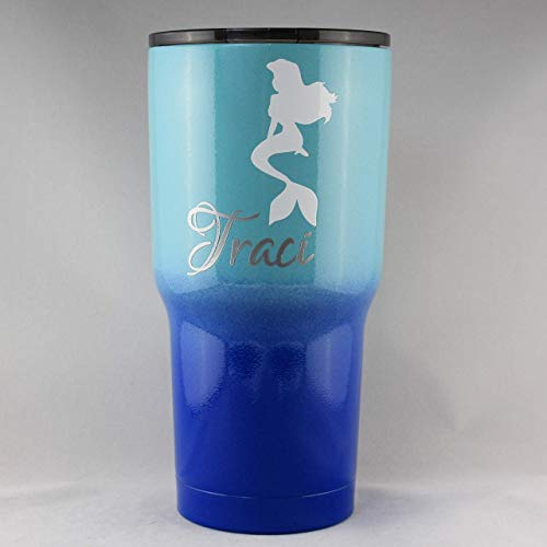 Personalized Powder Coated Tumbler (mug). Mermaid and Name Decal. Customize the mug color, size, and decal. Perfect for gift giving.]()