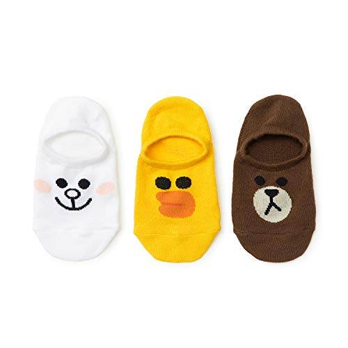 Line Friends No Show Socks - 3-Pack Set of Cute Character Designed Kids Cotton Ankle Liner Sock for Flats