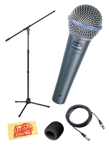 Shure Beta 58A Supercardioid Dynamic Microphone Bundle with XLR Cable, Windscreen, and Boom Stand by Shure