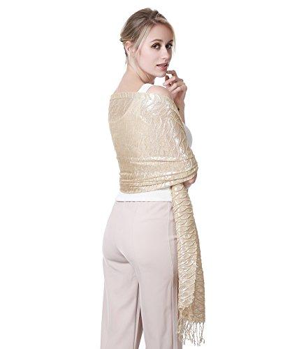 R.C.Y. Gold Shawl - Woman Wrap Scarf Shawl, Gold Hijab Scarfs for Women, Gift for Women - Wavy - Gold Metallic Thread Scarf