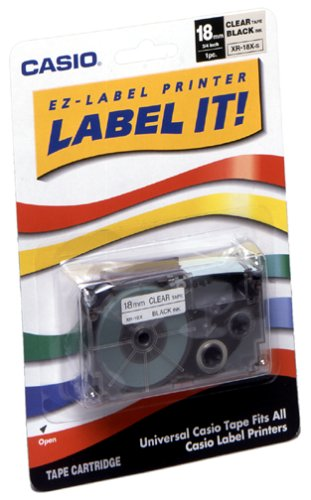 Casio XR-18X2S 18mm Labelling Tape (Black on (18 Mm Labelling Tape)