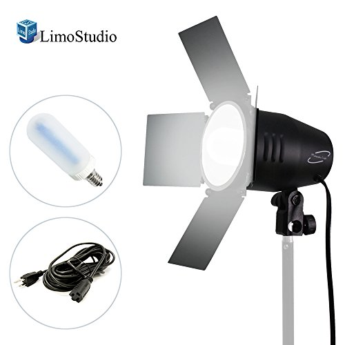 LimoStudio 150 Watt, JDD Frost Halogen Bulb Barn Door Lamp with Reflector, Light Stand Tripod, 4 inch Lamp Diameter, On/Off Switch, E26 Standard Base, Continuous Lighting Photo Video Studio, AGG2033 by LimoStudio