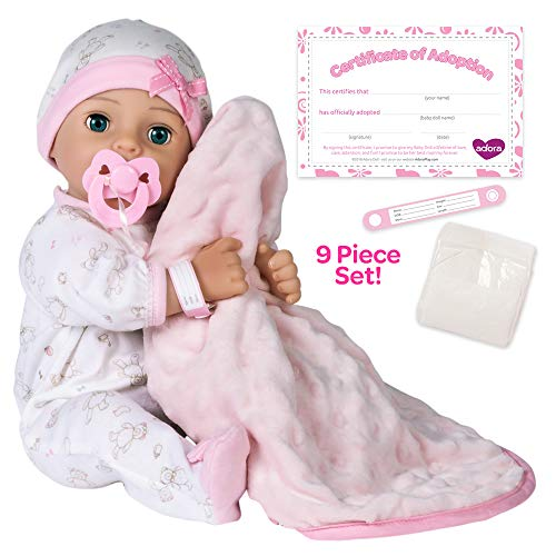 Adora Adoption Baby 'Hope' 16 Inch Vinyl Girl Newborn Weighted Soft Cuddle Body Baby Doll Toy Gift Set with Open Close Blue Eyes for 3 Year old kids and up