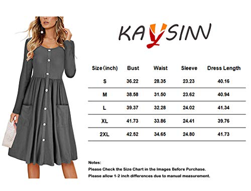 Dress Sleeve KAY Casual Button Down SINN Long Pockets with Gray Midi Womens Dresses YOIYq