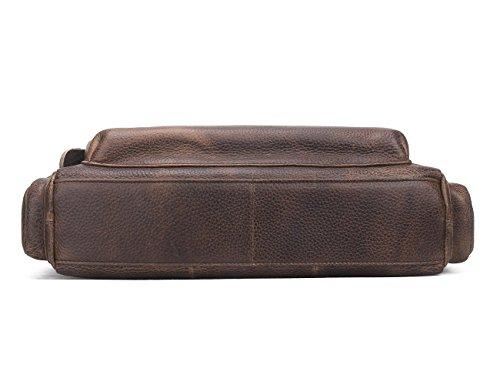 HIRAM Schulter-Kurier-Aktenkoffer der echten Leder-Weinlese-Totes-Handtaschen-Männer