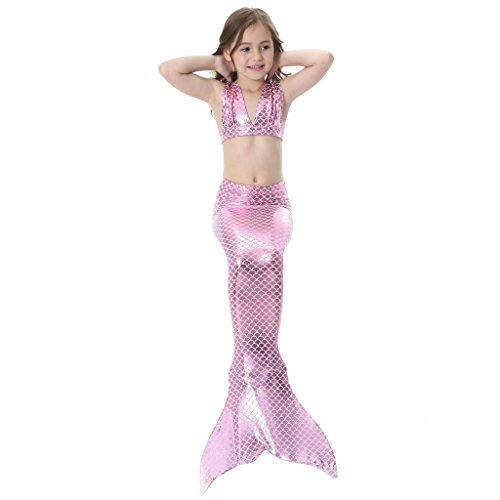 hibote Kids Swimmable Sirena Swimming Costumes Dress Pink-GB01