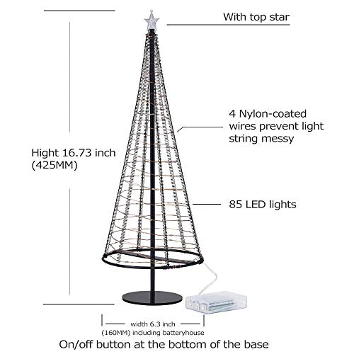 Metallic Lamp,Table Decorative Lights, Gift Ideas,85 Warm White LEDS on Copper Wire, Trees with Flat Plate and Battery House Outside for Indoor, 16.73 inch Tall, Black L