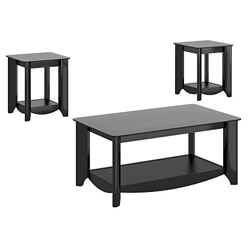 Bush Furniture Aero Coffee Table with End Tables in Classic - Table Set Coffee Bush