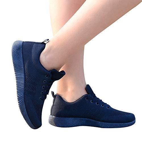 Zapatillas con Respirable Deportes Mujer QinMM Deportivas Azul Zapatos Running para Gym Cordones qIIUrxw4