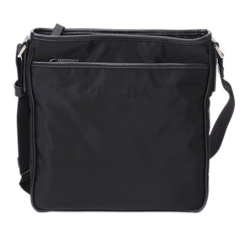 Prada Tessuto Saffian Black Nylon Logo Messenger Bag - Prada New Bag
