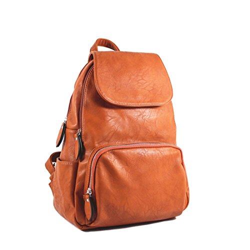 Unisex-Adult Ladies Womens Faux Leather Girls Rucksack Backpack College Uni Gym School Bag UK Tan