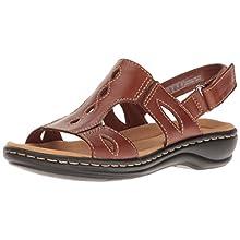 Clarks Women's Leisa Lakelyn Flat Sandal, Tan Leather, 8.5 M US