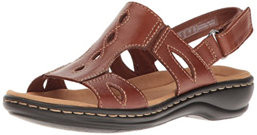 CLARKS Women's Leisa Lakelyn Flat Sandal, Tan Leather, 9 M US