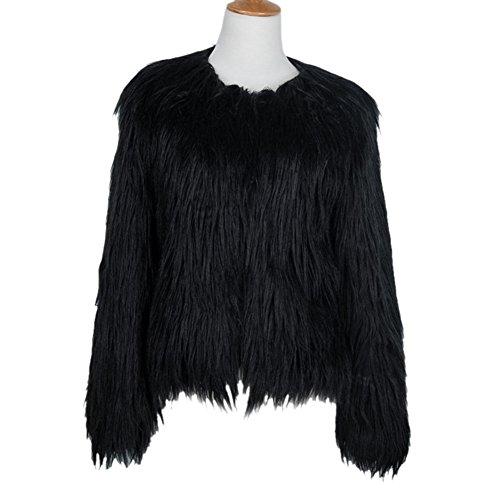 LLQ Abrigo para Mujer Invierno Piel Abrigo Mujer Caliente Chaqueta Piel Long Section Ropa Mujer Fur Coat Fur jacket Mujer Abrigo Pelo Invierno(Negro) Negro