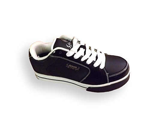 Lexani Shine Round Toe Leather Sneakers Black / Silver OvjV5