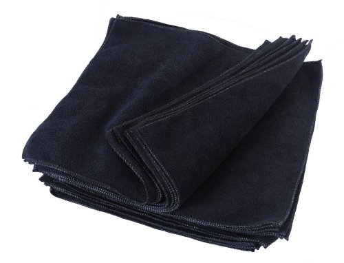 Eurow Microfiber Premium 12 x 12 350 GSM Cleaning Towels Black - 25 Pk
