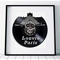 Kovides Louvre Clock France Art Lp Retro Vinyl Record Wall Clock Large Travel Gift Birthday Gift Idea for Woman Paris Clock Handmade Art Louvre Gift Wall Clock Vintage