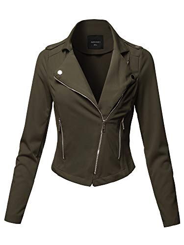 Awesome21 Solid Asymmetrical Zipper Closure Long Sleeve Thin Biker Style Jacket Olive L by Awesome21 (Image #1)