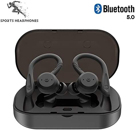 NWLYF True Wireless Earbuds Bluetooth 5.0 Headphones 5H Playtime Built-in Mic Auto Paring IPX7 Waterproof Sports Running Headsets in-Ear EarbudsCharging Case - Black / NWLYF True Wireless Earbuds Bluetooth 5.0 Headphones 5H Playtim...