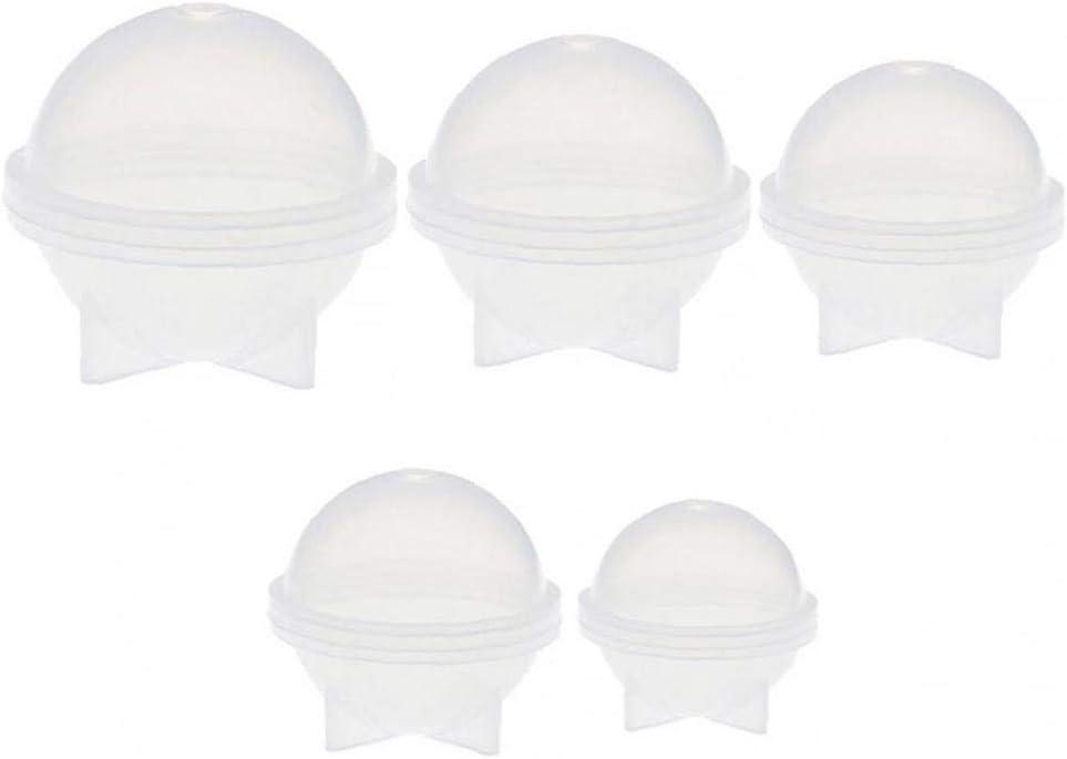 TOPofly DIY del Molde de Silicona para la Esfera Redonda Resina epoxi joyer/ía fabricaci/ón de moldes 5 Diferentes moldes de Bolas de Hielo Tama/ño Cera de Velas Hechas en casa de Bricolaje de pl/ástico