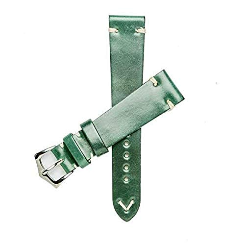 - Milano Straps Green Cordovan Watch Strap - Made of Shell Cordovan - Durable & Flexible - Stainless Steel Polished Buckle - Shining Replacement Strap - Perfect for Men & Women, 24mm