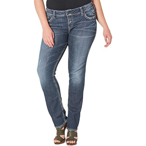 (Silver Jeans Co. Women's Plus Size Suki Curvy Fit Mid Rise Straight Leg Jeans, Vintage Dark Wash with Lurex Stitch, 18x30)