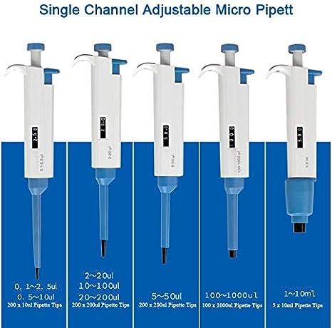 trasferimento con 200 punte 0.1-2.5ul Including 200 Pipette Tips BAOSHISHAN Micropipetta a canale singolo micro pipetta da laboratorio ZQ-702A regolabile