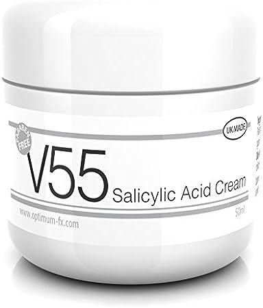 Crema V55 SIN Parabenos con Ácido Salicílico para granos, puntos negros, rojeces y piel problemática - 50 gramos