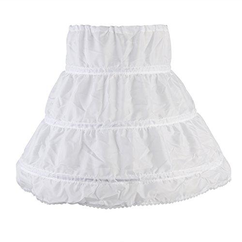 WINOMO Girls 3 Hoops Petticoat Half Slip Flower Girl Crinoline Skirt