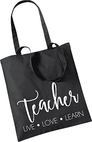 Tote Pretty Black LIVE LOVE TEACHER Little LEARN Stickers Bag nSUgAv
