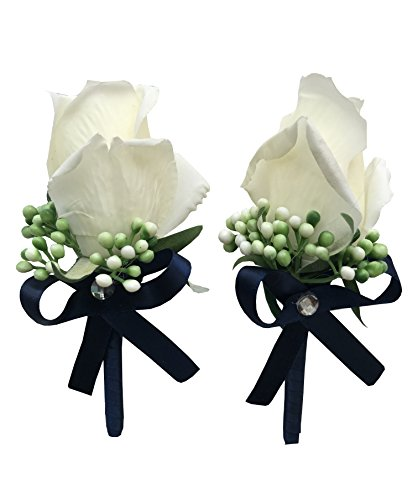YuRong Vintage Boutonnieres Bridesmaid Corsage Flower Wedding Boutonnieres T01 (Navy)