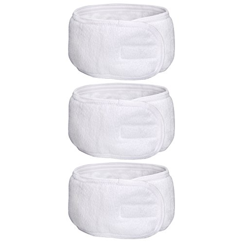 eBoot Spa Make up Headband Terry Cloth Headband Stretch Yoga Sport Headband Shower Headband, White, 3 Pieces (Headband Makeup)