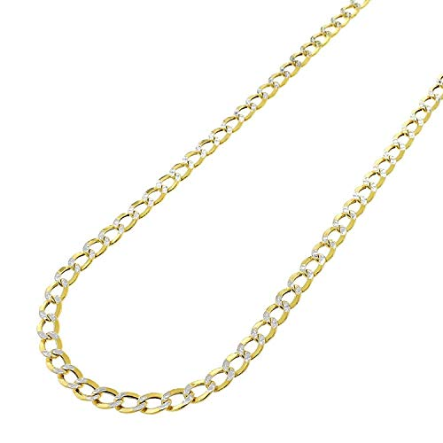 Pendants Cuban - 10k Yellow Gold 3.5mm Hollow Cuban Curb Link Diamond Cut Two-Tone Pave Necklace Chain 16