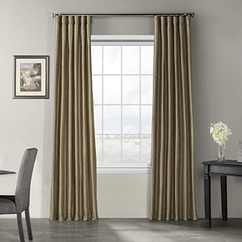 HPD Half Price Drapes Half Price Drapes PDCH-KBS19-96 Vintage Textured Faux Dupioni Silk Curtain, Warm Stone, 50 X 96, (Silk Raw Drapes)