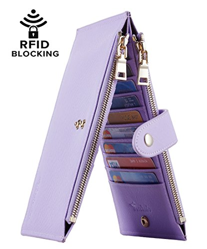 Travelambo Womens Walllet RFID Blocking Bifold Multi Card Case Wallet with Zipper Pocket (CH Purple Light 5200)