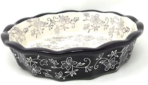 Temp-tations 9 x 2 Pie Pan, Fluted, Deep Dish Pizza or Quiche Floral Lace Eggplant
