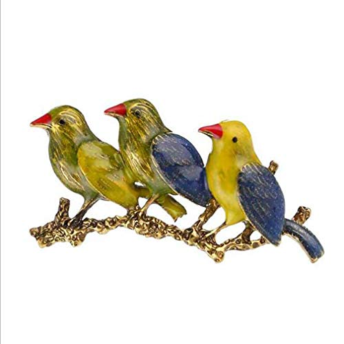 Iumer Unisex Three Birds Brooch Personality Alloy Enameled Animal Pin Garment - Bird Pin Enameled