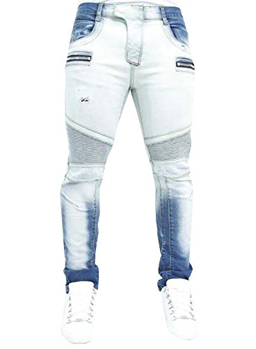 Karlywindow Men's Skinny Bleached Biker Pleated Ripped Denim Jeans