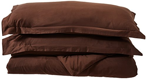 Maghso KD400C 400 Thread Count King Size 3PC Duvet Cover Set 100% Egyptian Cotton with Button Enclosure, Brown