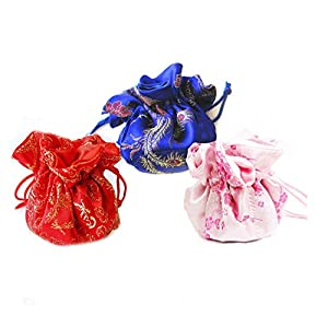 Linpeng 3 Piece New Drawstring Jewelry Travel Pouch/Holder/Organizer/Cosmetics Bag