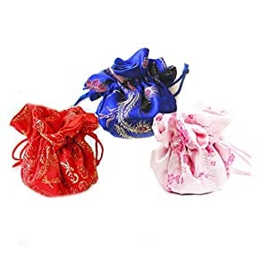 Linpeng 3 Piece New Drawstring Jewelry Travel Pouch/Holder/Organizer/Cosmetics Bag, Colors may vary