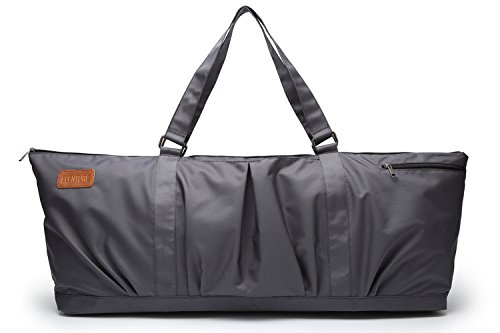 ELENTURE Full-Zip Extra Large Yoga Mat Tote Bag with Multi-Functional Storage Pockets for Sports Gym Pilates (Dark Grey)