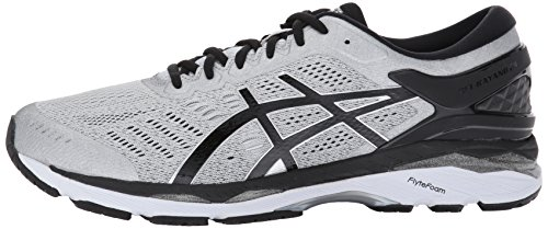 ASICS Men's Gel-Kayano 24 Running Shoe, Silver/Black/Mid Grey, 10.5 Medium US
