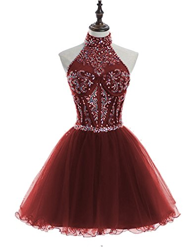 Beading Homecoming Dresses Sequined Backless Prom Gowns Short H233 2 Burgundy ()